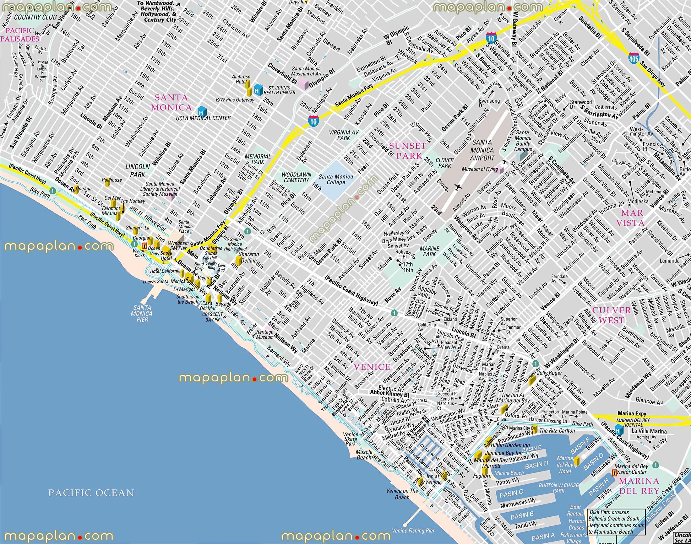 Venetsia Los Angeles Map Kartta Venetsia Los Angeles Kalifornia