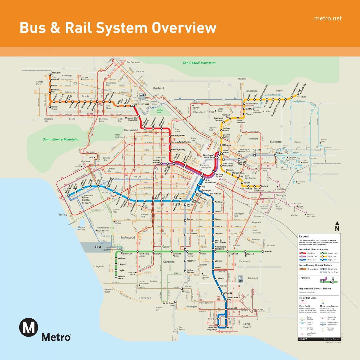Los Angelesin Julkinen Liikenne Kartta Los Angeles Julkisen